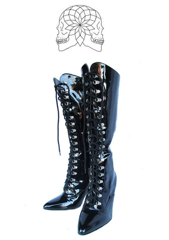 Black PVC Lace up Boots - Vintage Deadstock