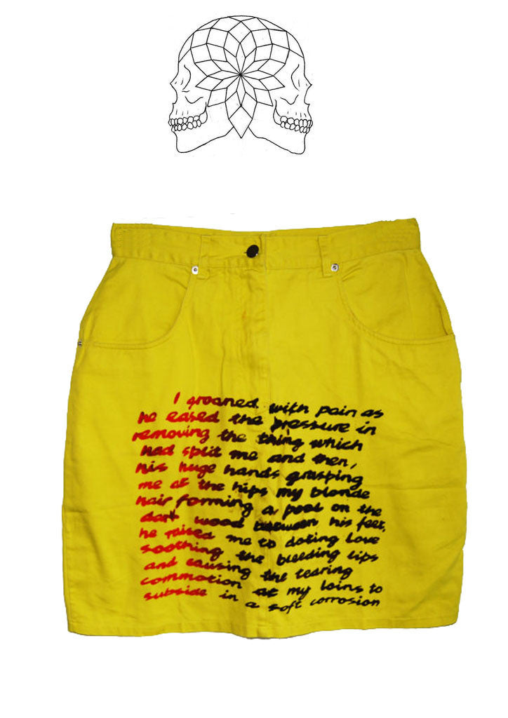 Punk SEX print Yellow Denim Pencil Skirt