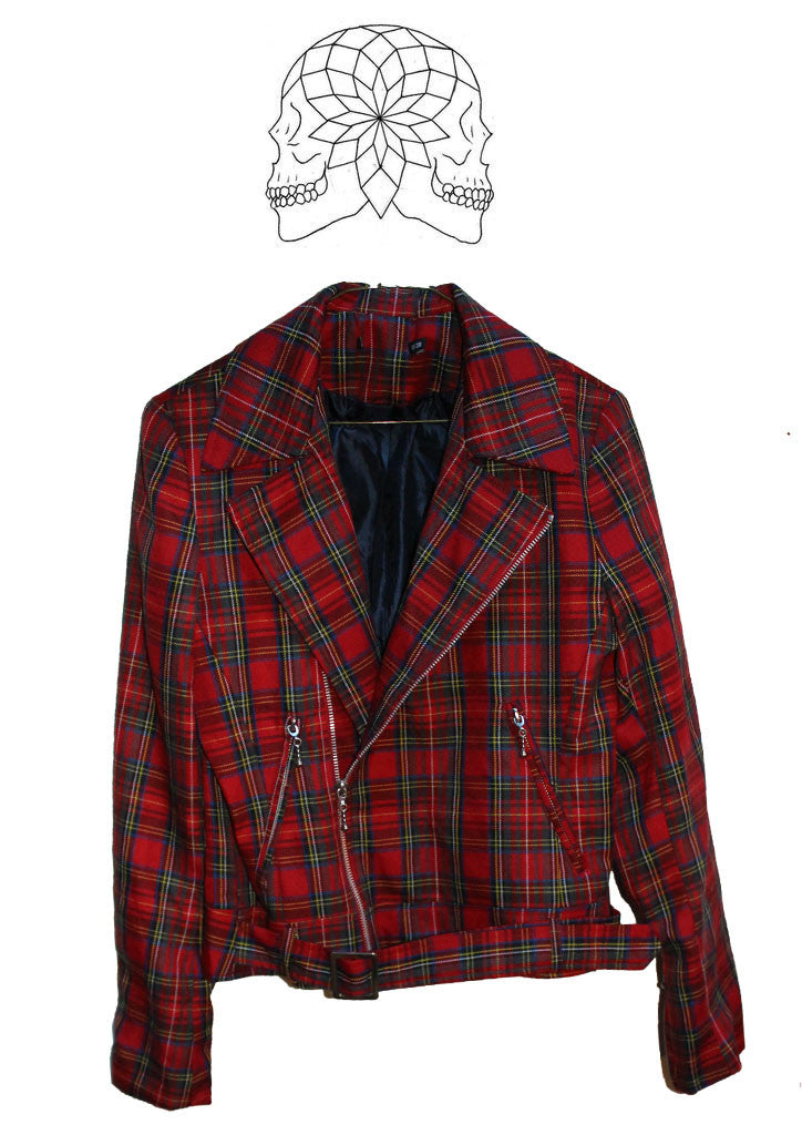 Tartan Punk Biker Jacket with The Exploited Skeleton Sex Print