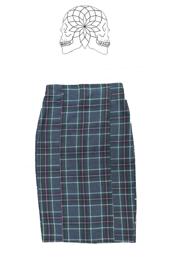 Grey Tartan Pencil Skirt
