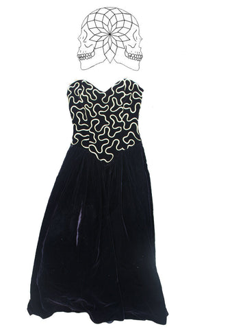 Vintage Black and Gold Velvet Gown Dress