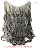 20 inch Invisible Wire No Clip One Piece Hair Extensions Secret Fish Line Hairpieces Silky Straight Natural