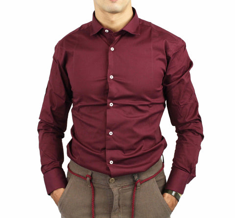 Image of Camicia uomo Over-D shop online camicie eleganti bordeaux slim cotone
