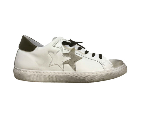 Image of Scarpe uomo 2 star Torino sneakers sportiva shoes bianca verde shop online