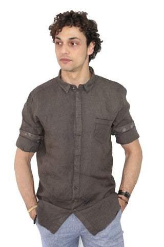 Image of Camicia uomo in lino Gean Luc Paris shop online camicie eleganti marrone collo slim fit