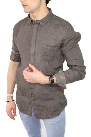 Camicia uomo in lino Gean Luc Paris shop online camicie eleganti marrone collo slim fit