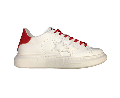 Image of Scarpe uomo 2 star Torino sneakers sportiva shoes bianche rosse saldi online shop