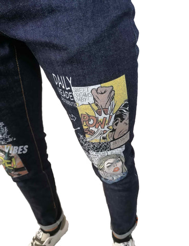 Image of jeans over-d uomo shop online slim skinny denim stretti comics blu Torino