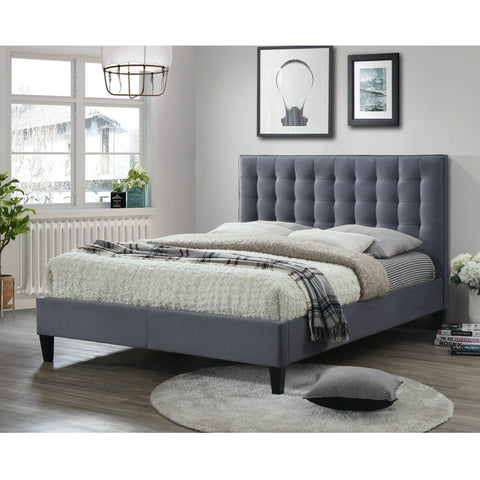 Belmont Upholstered Fabric Double Bed Grey *Ex Display*