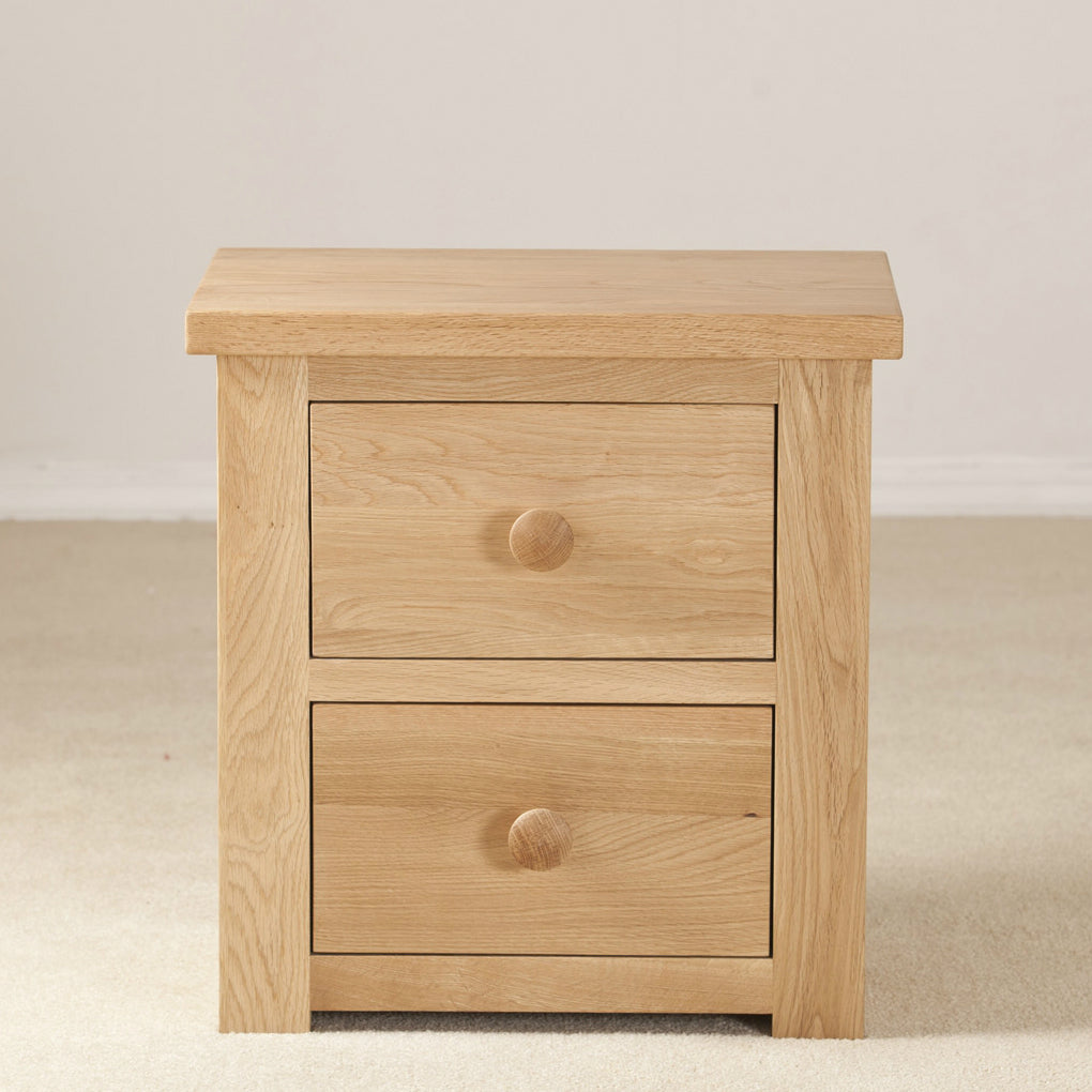 Clifton Oak 2 Drawer Bedside from Quarter Furniture - 1