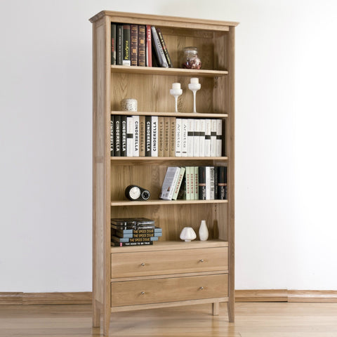 Cotham Oak Bookcase With Drawers