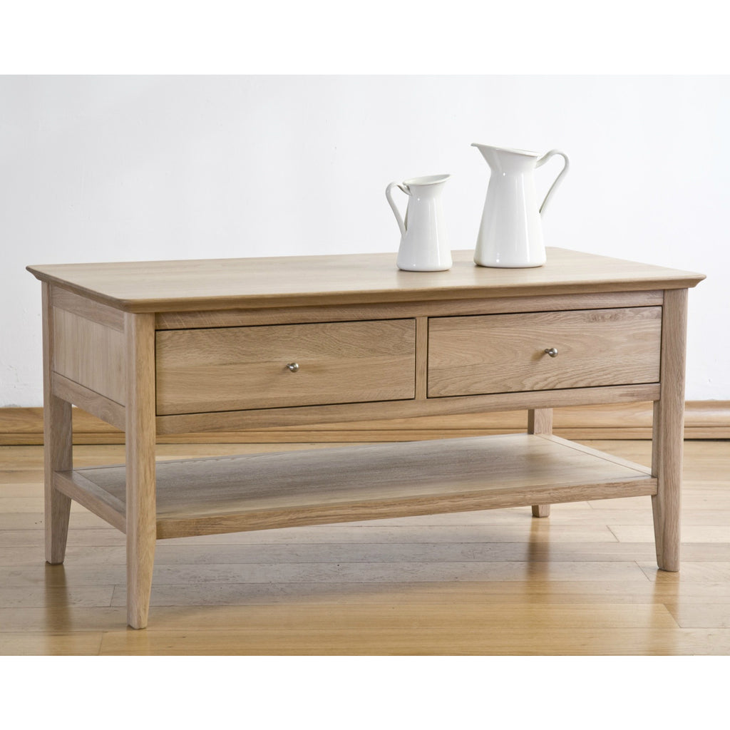 Cotham Oak 2 Drawer Coffee Table from Quarter Furniture - 1