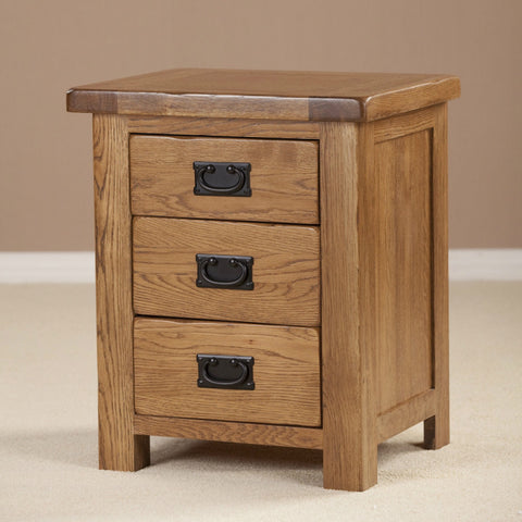 Durdham Oak 3 Drawer Bedside