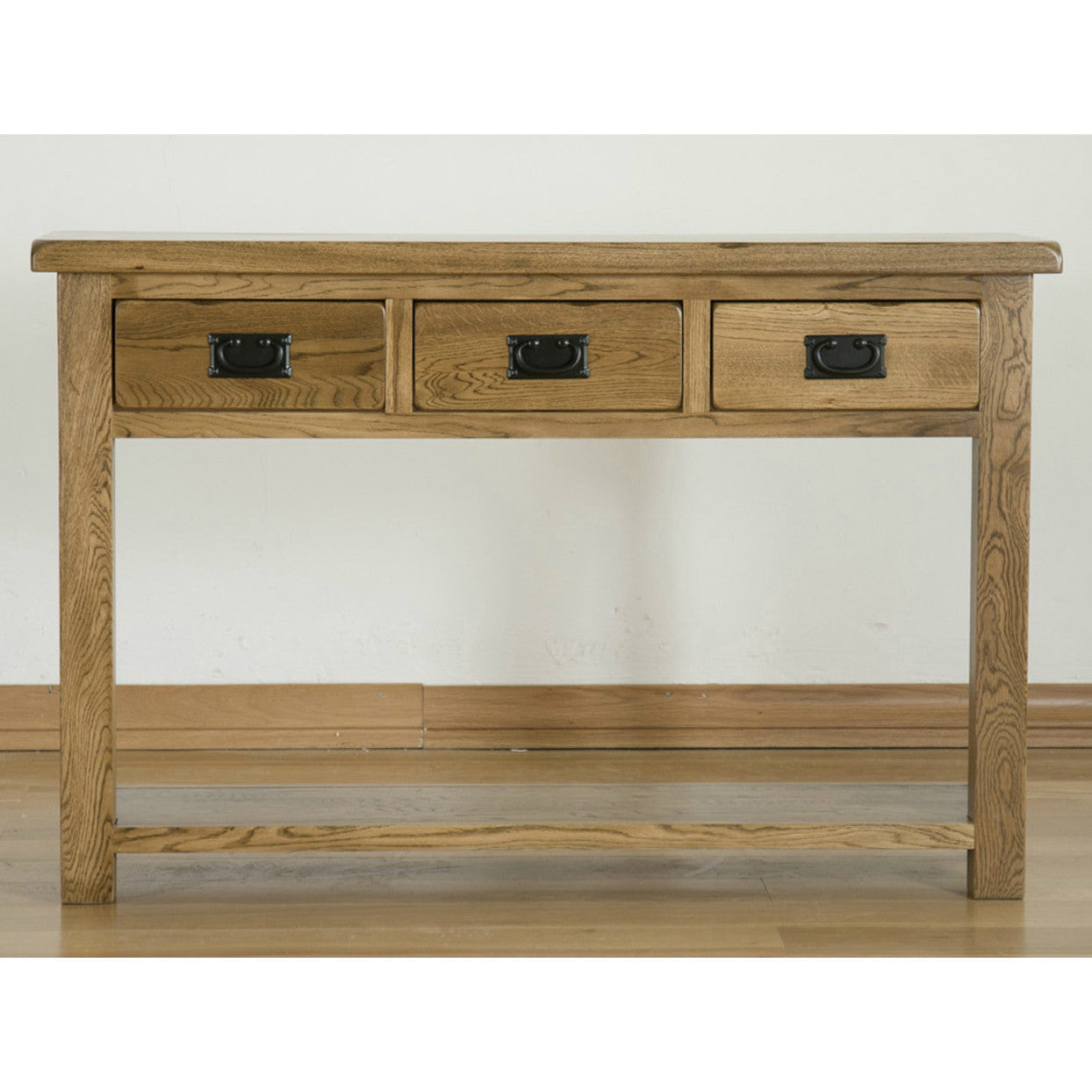 Durdham Oak 3 Drawer Console Table Quarter Solid Wood Furniture ~ Oak Sofa Table With Drawers