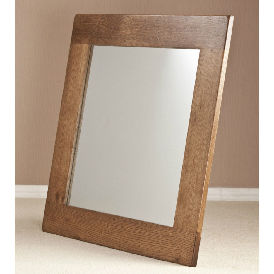 Durdham oak 90x90cm wall mirror quarter solid wood for Miroir 90x90