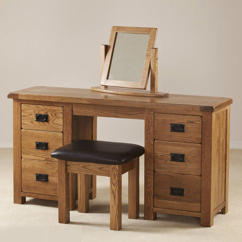 Durdham Oak Double Pedestal Dressing Table