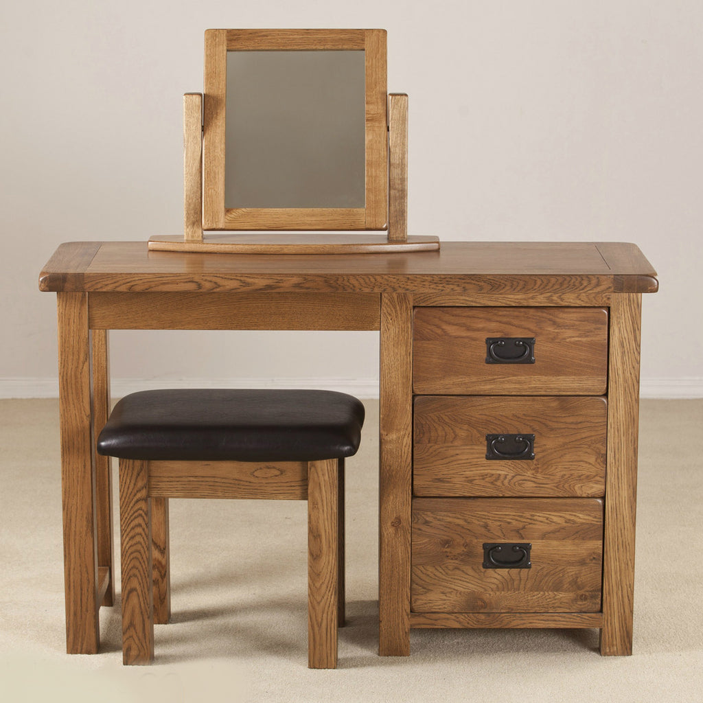 Durdham Oak Single Pedestal Dressing Table from Quarter Furniture - 1