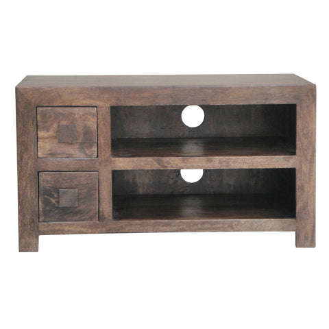 Mango Wood Dark 2 Drawer AV Unit (90cm)