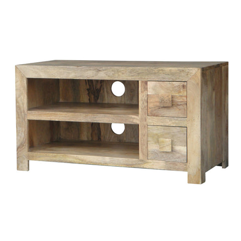 Mango Wood Light 2 Drawer AV Unit (90cm)
