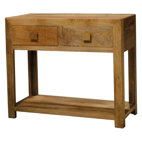 Mango Wood Light 2 Drawer Console Table