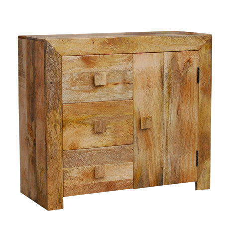Mango Wood Light 1 Door 3 Drawer Sideboard