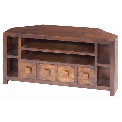 Mango Wood Dark Corner AV Unit