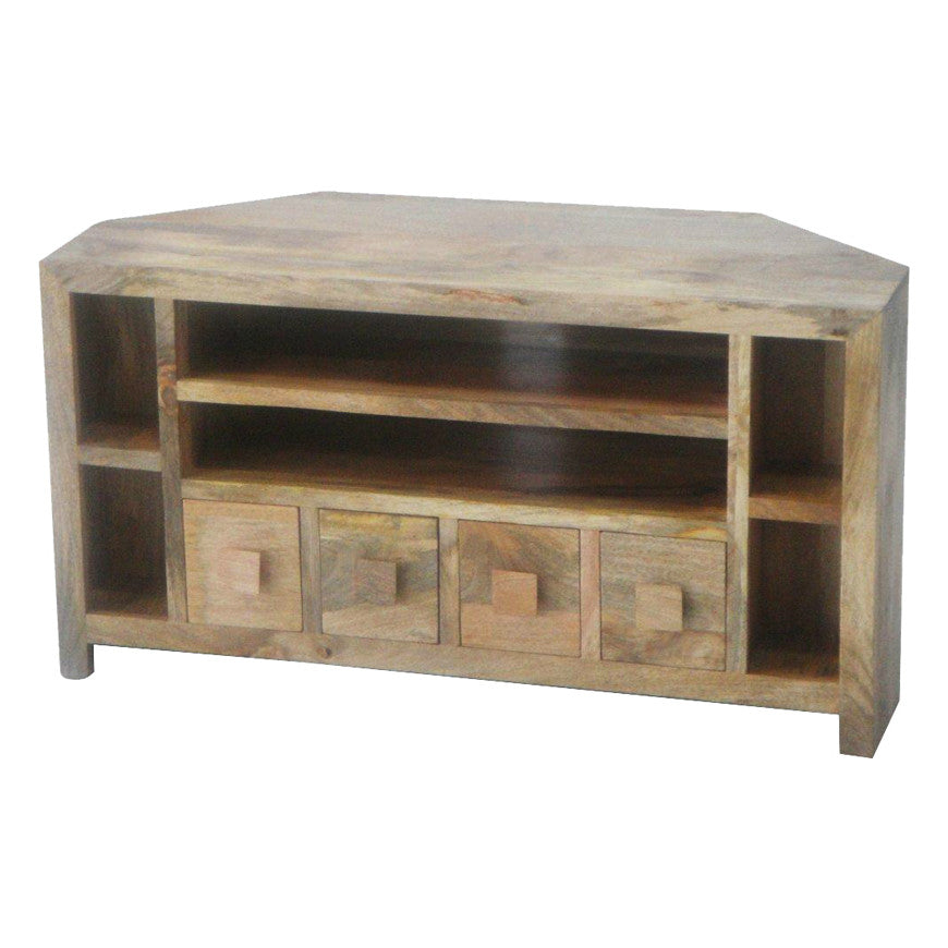 Mango Wood Light Corner AV Unit  Quarter - Solid Wood Furniture