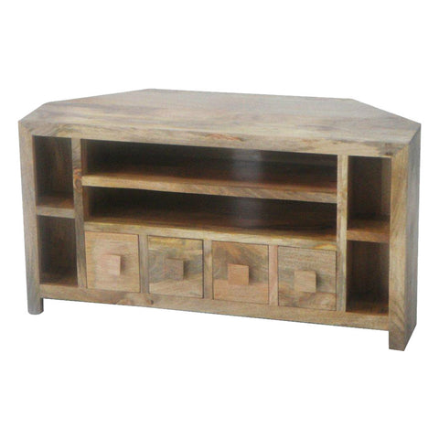 Mango Wood Light Corner AV Unit