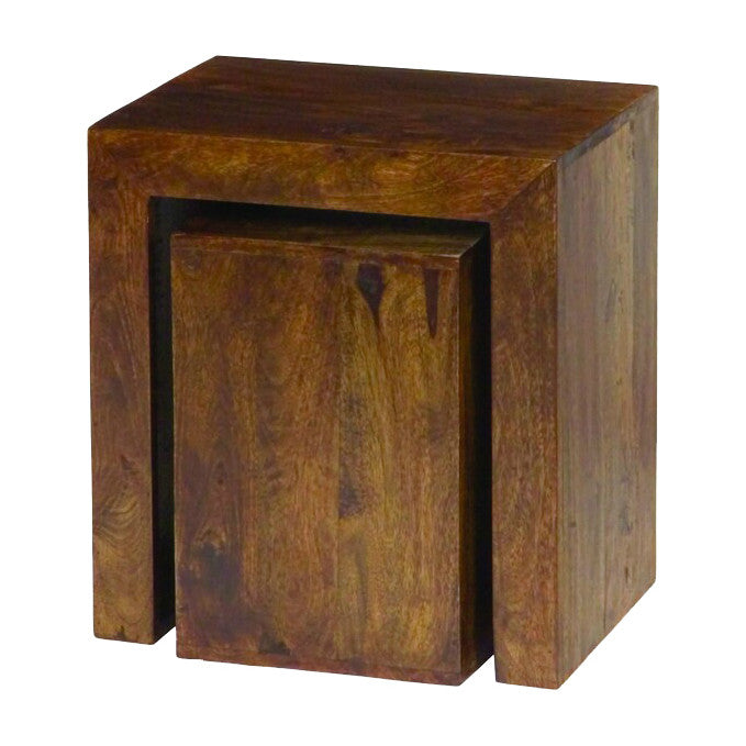 Mango Wood Dark Cube Nest of  Tables  Quarter - Solid Wood Furniture