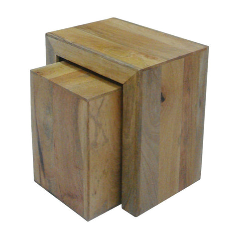 Mango Wood Light Cube Nest of 2 Tables