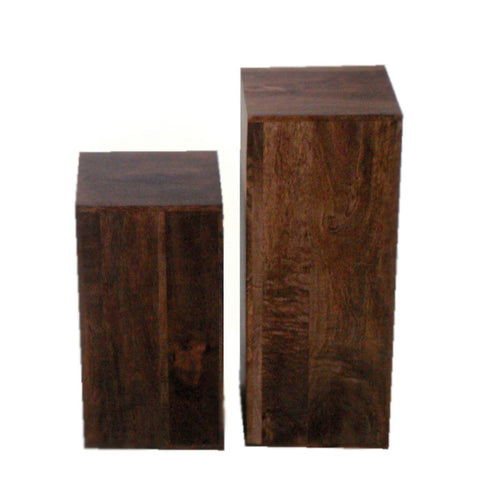 Mango Wood Dark Pair Of Lamp Cubes