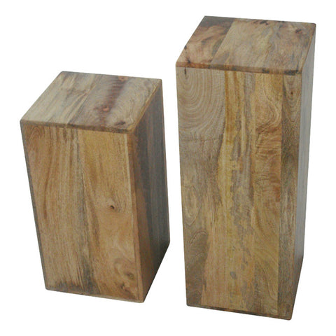 Mango Wood Light Pair Of Lamp Cubes