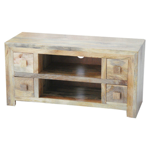 Mango Wood Light 4 Drawer AV Unit (110cm)