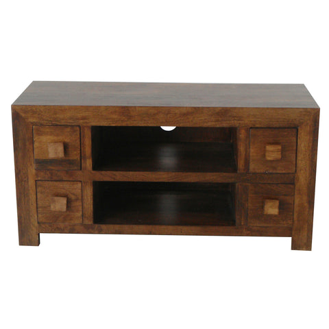 Mango Wood Dark 4 Drawer AV Unit (110cm)