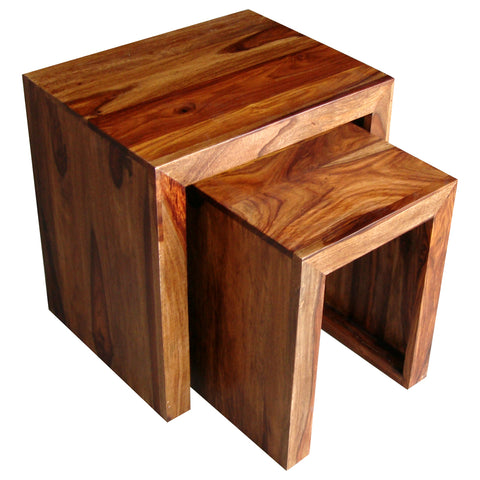 Sheesham Cube Nest Of 2 Tables