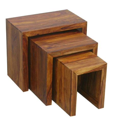Sheesham Cube Nest Of 3 Tables