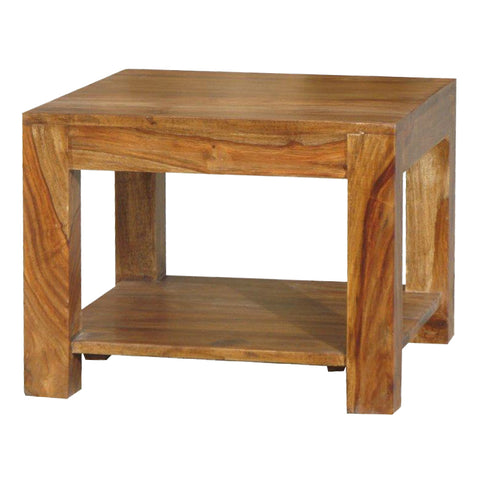 Sheesham Square Coffee Table With Shelf