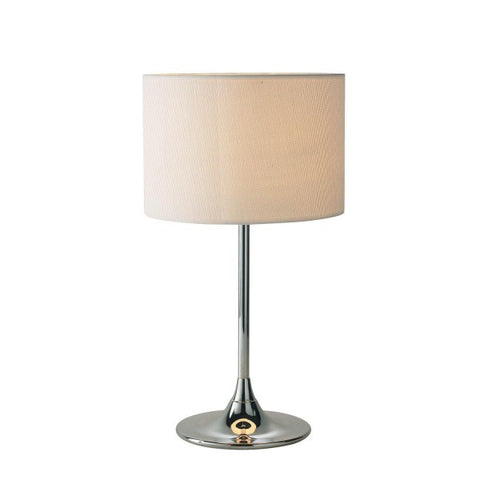 Delta Chrome Table Lamp With Cream Woven Shade