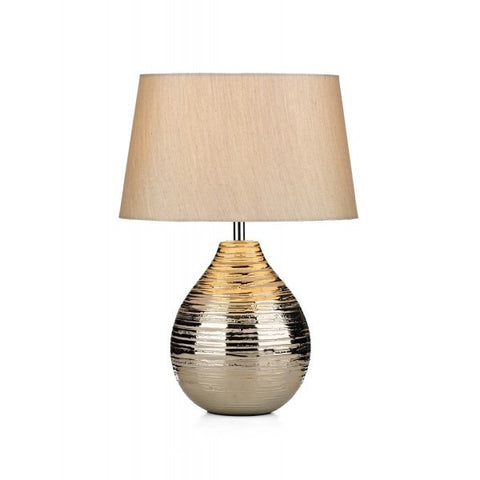 Gustav Small Silver Table Lamp With Silver Shade