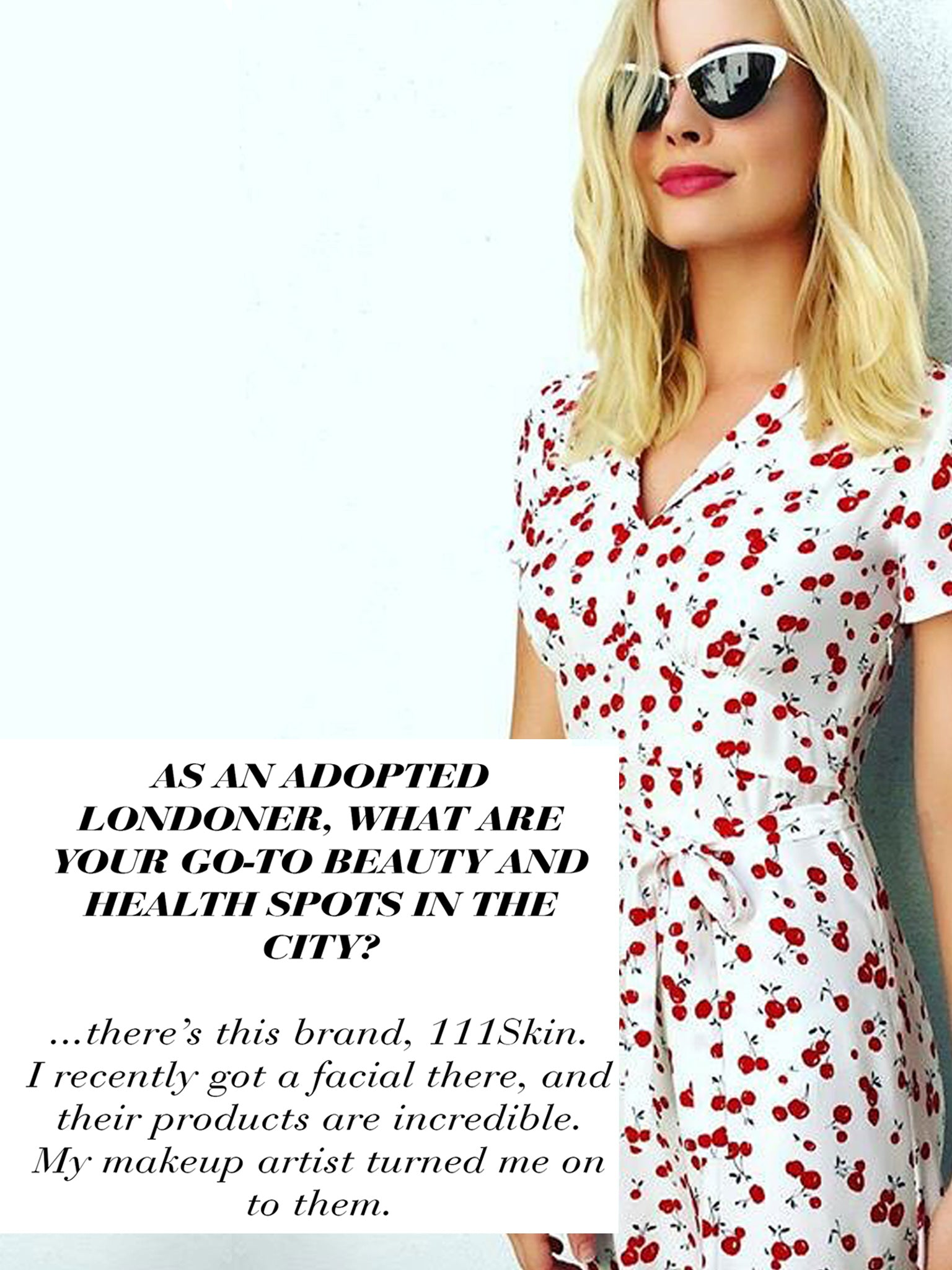 Hollywood Star Margot Robbie shows her appreciation for 111SKIN