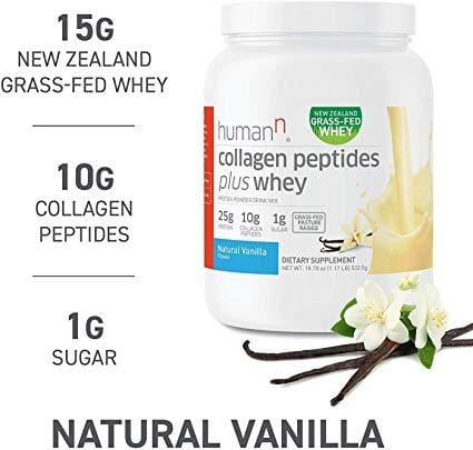HumanN Baja Carb Grass-Fed Pasture-Raised 10 Grams of Collagen Peptides Plus 15 Grams of Whey Protein (Vanilla Flavor, 530 Grams)