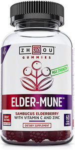 Zhou Nutrition Elder-Mune Sambucus Elderberry Gummies - Antioxidant Flavonoids, Immune Support Gummy Vitamins, Zinc Supplement & Vitamin C Supplement