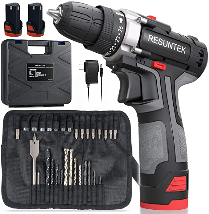 Cordless Drill Driver Set with 2 Batteries, Resuntek Cordless Drill Screwdriver Set 31Pcs (Max Torque 28Nm, 2-Speed, 25+1 Torque Setting, 10mm Automatic Chuck, LED Light) for Home DIY Project