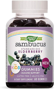 Nature's Way Sambucus Elderberry suplementos a base de hierbas para niños, 60 unidades | Black Elderberry |Vitamina C | Zinc |