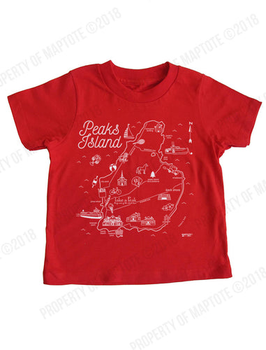 Kids Peaks Island Map T-shirt