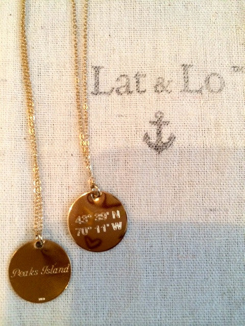 Peaks Island Lat & Lo disc necklace