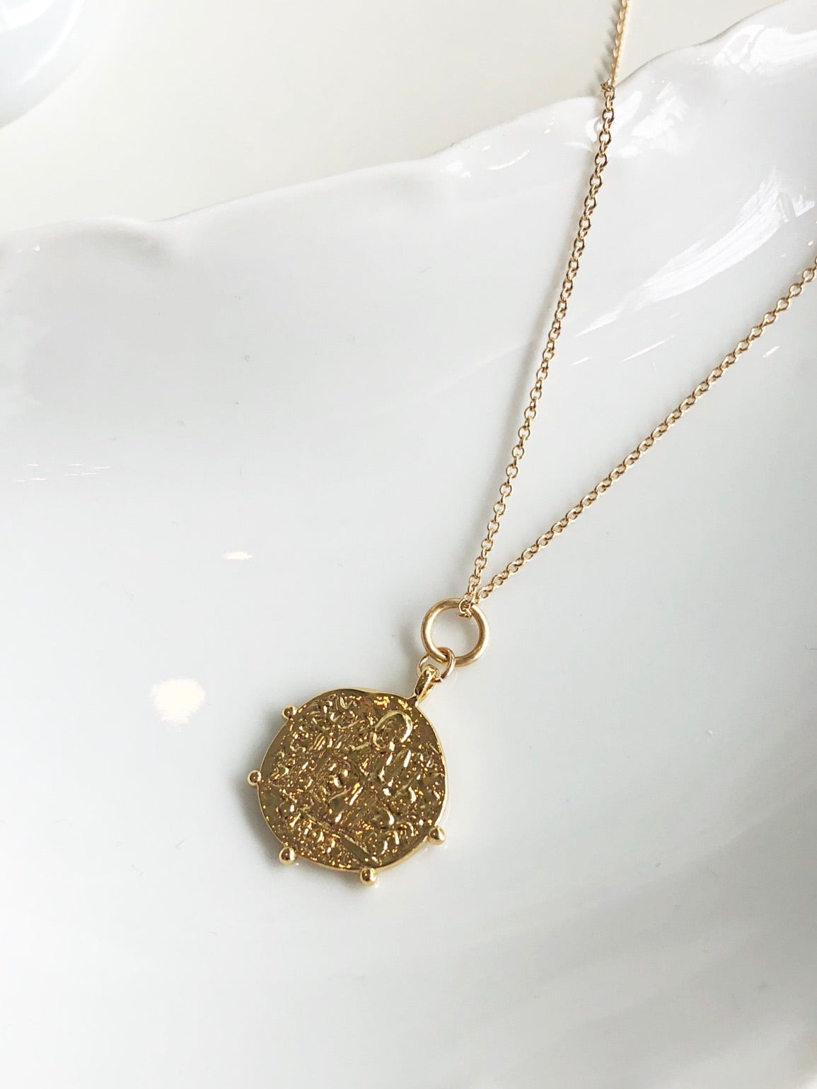 Dotted Edge Coin Necklace