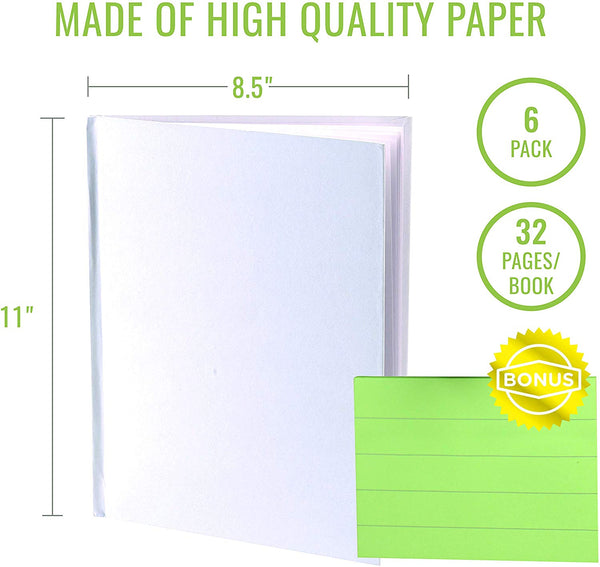white blank books with hardcovers 8.5 w x 11 h