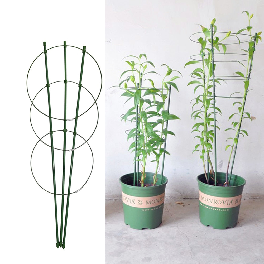 45cm/60cm Climbing Vine Rack Plant Potted Support Frame Plastic Coated Steel Flower Vegetables Decorative Trellis Bracket 1Pc
