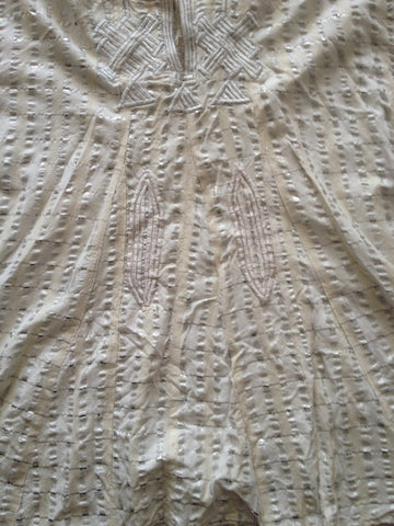 SILVER, WHITE, IVORY STRIPED EMBROIDERED GANDOURA CAFTAN KAFTAN TUNIC - Morocco